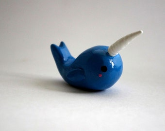 Narwhal Totem Polymer Clay Miniature Sculpture, Kawaii Narwhal, Narwhal, Narwhal Sculpture, Cute Narwhal, Narwhal Animal Figurine, Totem