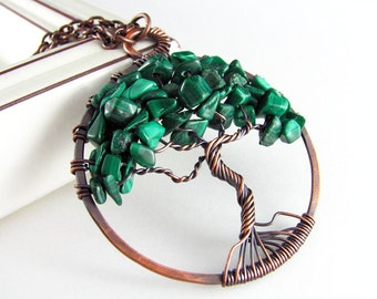 Tree Of Life Pendant Wire Wrapped Jewelry Malachite Necklace Copper Jewelry Tree Of Life Necklace Wire Wrapped Pendant