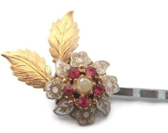 Wedding Hairpin White Bridal Hair Accessories Jeweled Flower Bobby Pin Gold Leaf Clip