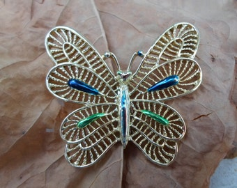 Vintage Gold Tone Gerry's Pin/Brooch Butterfly Blue/Green Open Work Shiny Springtime