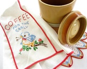 Vintage Hand Embroidered Kitchen Appliance Cover, Cherry Red, Powder Blue, Canary Yellow, Morning Coffee Early Blue Bird