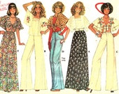 "McCall's 5115 Misses Boho Skirt Pants tops With Cape Embroidery Transfer Vintage Sizes 10 12 Bust 31 1/2"" - 34"""