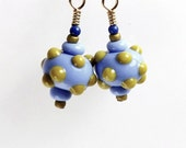 Bright Blue and Mustard Yellow Earrings, 3/4 inch (2cm) Drops, Blue Round Beads With Raised Mustard Yellow Polka Dots, Mini Earrings