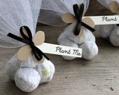 Plantable Paper Seed Bomb Wedding Favors made with Sandy Brown Hydrangea Paper Flower