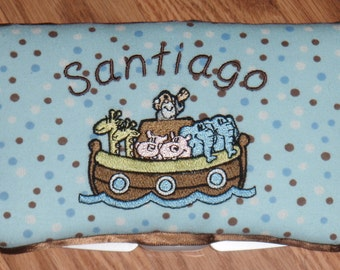 Personalized Noah's Ark Elephant Giraffe  Baby Wipe Case