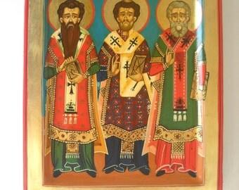 Original Painting - Original Folk Art, The Three Teologian Saints- St. Bazil the great, St. John zlatoust, St Gregory -Ready To Hang Art