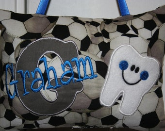 Boys Tooth Fairy Pillow - Personalized-Soccer