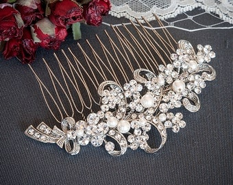 Wedding Hair Accessories, Bridal Crystal Hair Comb, Victorian Style Flower and Ribbon Bow Rhinestone and Pearl Wedding Hair Comb, LINDSEY