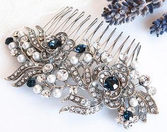 Victorian Style Bridal Hair Accessories, BLUE Swarovski Crystal Wedding Hair Comb, Pearl and Rhinestone Rose Flower Hair Accessories, ROSIE