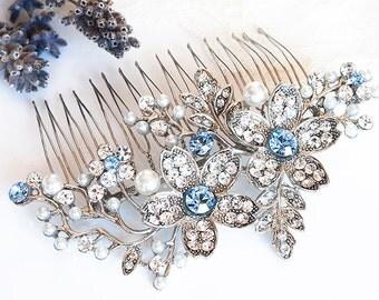 Wedding Hair Accessories, Vintage Style Flower and Leaf Rhinestone Bridal Hair Comb, BLUE Swarovski Crystal and Pearl Wedding Comb, SHERI