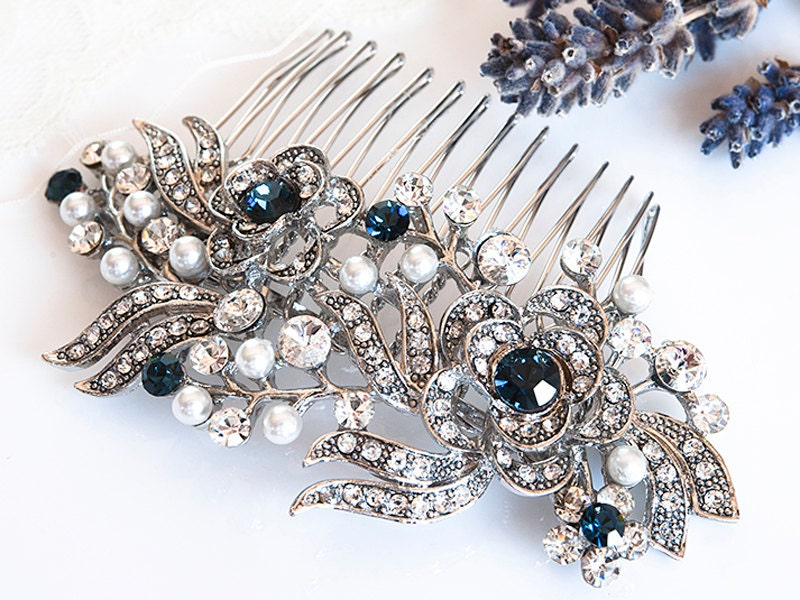 victorian style bridal hair accessories blue swarovski