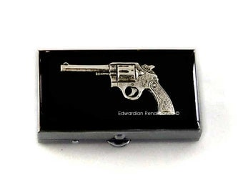 Revolver Metal Pill Box Inlaid in Hand Painted Enamel Smith and Wesson Pill Case Custom Colors and Personalized Options