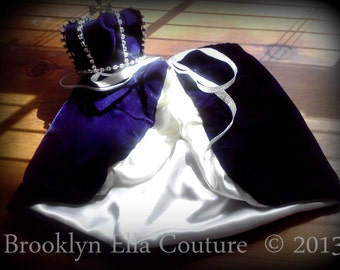 Original Mini Royal Baby Crown and Cape Set : Mini Rhinestone velvet Crown and cape Prince Newborn Photo Prop... Newborns Toddlers Birthday