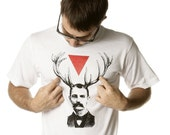Mens Screen Printed Man with Antlers and Triangle Shirt
