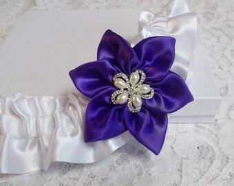 Regency Purple Wedding Garter, Romantic Wedding Garter in Purple and White Satin, Bridal Garters