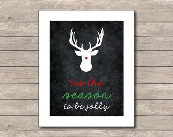 Tis The Season Printable, Chalkboard Art Print, Christmas Art with Quote
