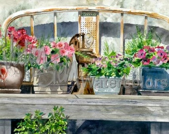 """Patio Garden, Vintage Head Board, Pump, Pink, Red Flowers, Original OOAK Watercolor Painting Picture, Wall Art, Home Decor, """"Bed of Flowers"""""""