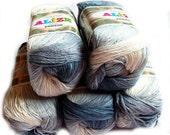 Bamboo Fine Batik. Pure Bamboo Yarn: Hypoallergenic Batik Design Yarn in white and grays from Alize. Worsted weight. Col. 2905. SALE