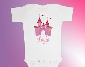 Bodysuit Baby Clothes - Personalized Applique - Princess Castle - Embroidered Short or Long Sleeved - Free Shipping