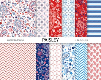 Paisley Digital paper pack in red and blue, digital backgrounds - 12 jpg files 12x12 - INSTANT DOWNLOAD  541