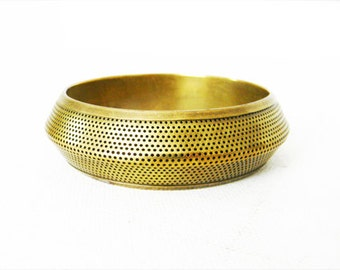 Vintage Brass Bracelet Perforated Bangle Bracelet
