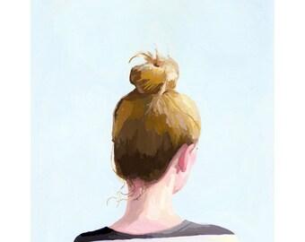 "8x10"" hair art - bun print - ""Top Knot 25"""