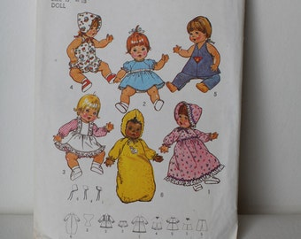 "Vintage Doll Pattern 15""- 17"", Simplicity 7208, Doll Dress, Doll Long Dress, Doll Romper, Doll Hat"