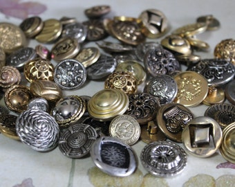 10 Vintage Metal Buttons