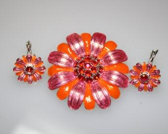 Vintage Orange and Pink Enamel Flower Brooch and Earring Set