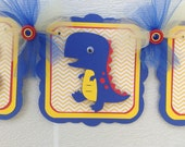 Dinosaur baby shower banner, yellow chevron, blue and red primary colors, its a boy banner