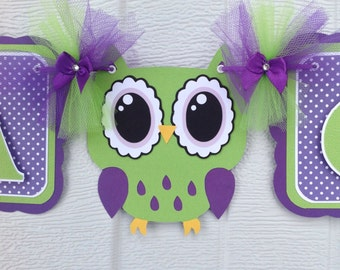 Owl baby shower, baby shower banner, purple owl decorations, owl decorations, purple and green baby shower, it's a girl banner, photo prop