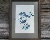 Bird Print Richard Sloan 1960s Framed Blue Bird Print Farmhouse Decor Country Home Art Cabin Decor