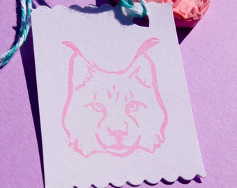 Lynx Cat Rubber Stamp, Wildcat Hand Carved Stamp, Bobcat Wildlife Stamp, Handmade Cat Stamp