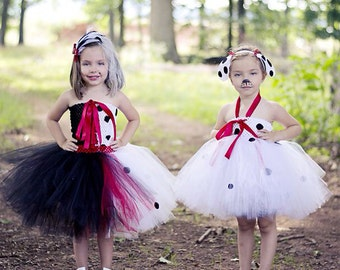 101 Dalmatian set - Cruella Deville and Dalmatian tutu dresses - size newborn to 5t