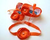 Orange Lace Baby Ballerina Slippers with Matching Headband
