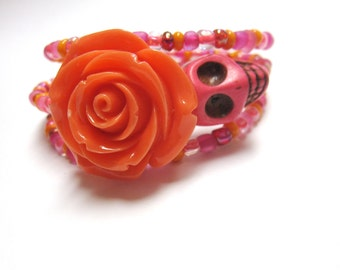 Day of the Dead Skull Bracelet Wrap Orange Pink Rose