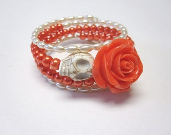 Skull Bracelet Day Of The Dead Jewelry Wrap Orange Coral Ivory Rose