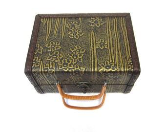 Wood Box Purse Tooled Leather Handbag