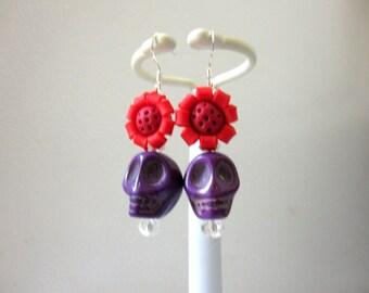 Sugar Skull Earrings Purple Red Flower Day Of The Dead Jewelry