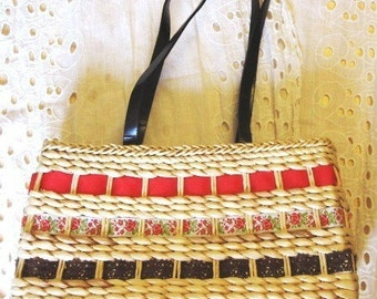 Red Tan Brown Purse Raffia Woven Ribbon Handbag Natural Fiber
