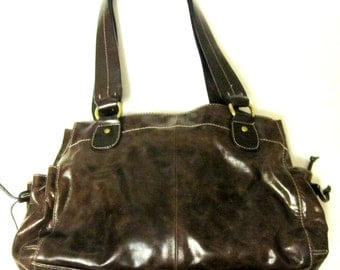 Dark Brown Leather Purse Large Hobo