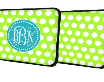 """Custom LAPTOP MACBOOK Sleeve Lime Polka Dot Initials Monogram 11"""" 12"""" 13"""" 14"""" 15"""" - Personalized Monogram - Design Printed on Front AND Back"""
