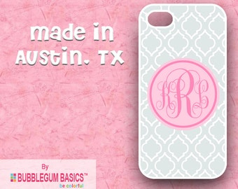 Custom Phone Case iPhone 6 5/5S 4/4S Samsung Galaxy S4 S5 - Gray Moroccan Light Pink Circle - Monogrammed Personalized