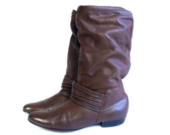 vintage 80s BROWN leather SLOUCHY BOOTS pirate 6.5 flat riding boho shoes