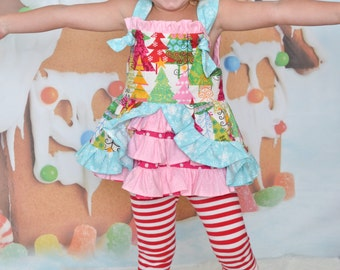 Christmas tree girls dress top outfit