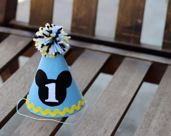 Mickey Mouse First Birthday Hat Baby Blue and Yellow Party 1st Birthday Outfit Little Man