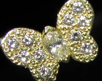 0.30CT Natural Diamond Butterfly Necklace 14kT