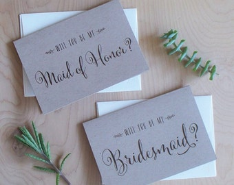 Will you be my Bridesmaid cards, rustic, kraft paper