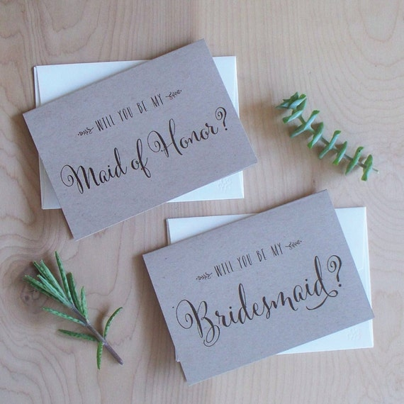will you be my bridesmaid cards rustic kraft paper. Black Bedroom Furniture Sets. Home Design Ideas