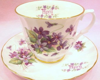 Crown Trent Tea Cup and Saucer, Flower of the Month Series, April Violets Tea Cup